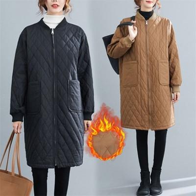キルティングコート レディース  長袖 大きいサイズ ゆったり ロング丈 大人カジュアル 中綿 ナチュラル 程よいゆとり 大きいサイズあり