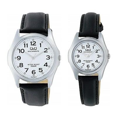 国内正規品 CITIZEN シチズン ペアウォッチ Q&Q ソーラー 腕時計 ソーラーメイト チープシチズン 白 ブラック 革ベルト レトロ H008H009-304カップル 時計 誕生日 お祝い ギ