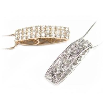 【予約】【おねだりジュエリー】ミル打ち縦長リバーシブルパヴェ計1.00ダイヤモンドネックレス