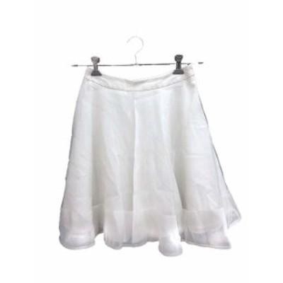 【中古】クローラ crolla スカート チュール フレア ひざ丈 36 白 ホワイト /KB レディース