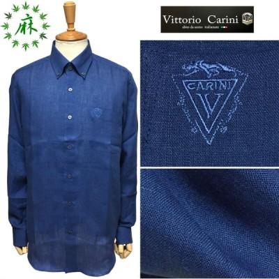 セール Vittorio Carini ビットリオ カリーニ 麻100% ボタンダウンシャツ ネイビー 夏まで快適 清涼素材 日本製