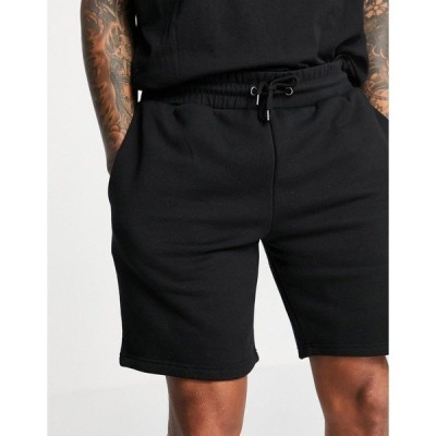 リバーアイランド メンズ カジュアルパンツ ボトムス River Island slim jersey shorts in black Black