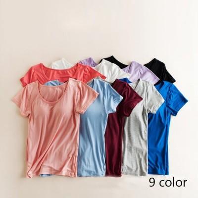ブラトップ カップ付き 半袖Tシャツ インナー Tシャツブラ  カットソー ストレッチ 伸縮性 大きいサイズ 2L 3L メール便送料無料