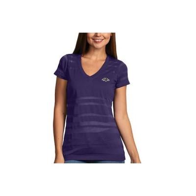 フットボール NFL アメリカ USA 全米 メジャー アンティグア Antigua Baltimore Ravens Women's パープル Juke V Neck T Shirt