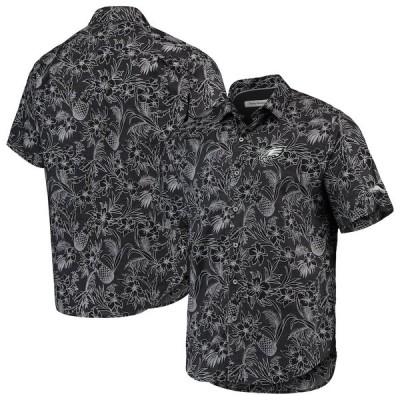 """メンズ カジュアルシャツ """"Philadelphia Eagles"""" Tommy Bahama Tiki Luau Woven Button-Up Shirt - Black"""