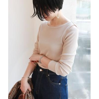 (and Me.../アンドミー)チェーンテレコリブ長袖肩あきTシャツ/レディース ベージュ