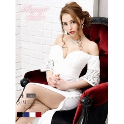 キャバ ドレス キャバドレス キャバクラ ロングドレス パーティードレス Ryuyu Vカット 袖付き オフショル 単色