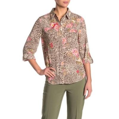ナネットレポー レディース シャツ トップス Floral Cheetah Print Button Front Shirt MOCHA MAUV
