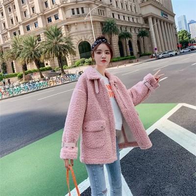 冬 ファッション プラスベルベット 子羊の髪 小さい新鮮な コート 気質 カレッジ風 短いスタイル トップス