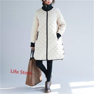 キルティングコート ロングコート キルティングジャケット トップス レディース 長袖 無地 保温 ゆったり 体型カパー 防寒 カジュアル風 シンプル