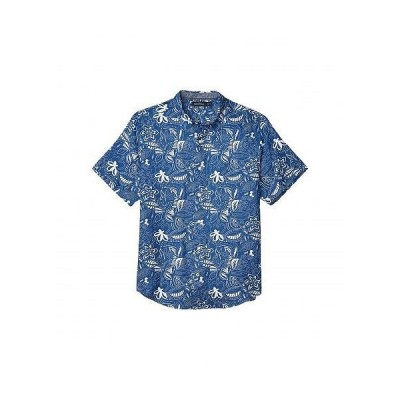 Nautica ナウチカ メンズ 男性用 ファッション ボタンシャツ Short Sleeve Linen Print - Blue