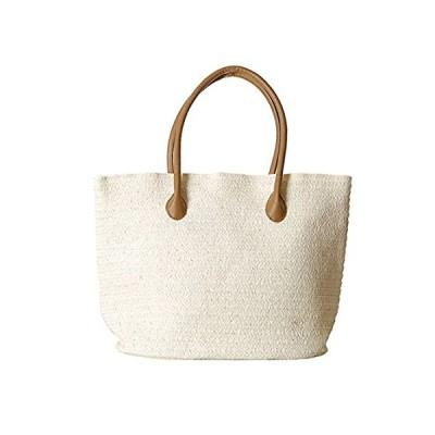 Women's Classic Straw Summer Beach Shoulder Bag Handbag Tote With PU Leathe