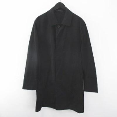 【中古】未使用品 メンズビギ MEN'S BIGI ステンカラーコート 薄手 比翼 LL 黒 ブラック ロング丈 ボタン 綿 コットン