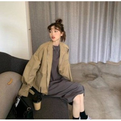 2色 ジャケット アウター 長袖 無地 ゆったり カジュアル 大人可愛い 韓国 オルチャン ファッション