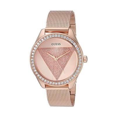 GUESS  Rose Gold-Tone Glitz Logo Mesh Bracelet Watch. Color: Rose Gold-Tone (Model: U1142L4) 並行輸入品