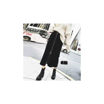【ブラック/XL】タイトスカート フロントファスナー ペンシルスカート Iライン カジュアル