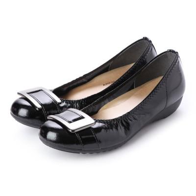 アーチコンタクト ARCH CONTACT 日本製 バレエシューズ フラットシューズ やわらかい 歩きやすいローヒールコンフォートシューズ 大きいサイズ アーチコンタクト (ブラック)