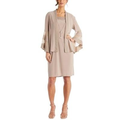 アールアンドエムリチャーズ ワンピース トップス レディース Petite Necklace Dress & Jacket Taupe