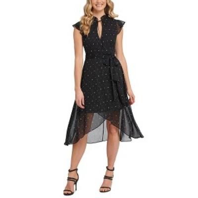 ダナ キャラン ニューヨーク レディース ワンピース トップス Ruffled High-Low Dress Black/Cream