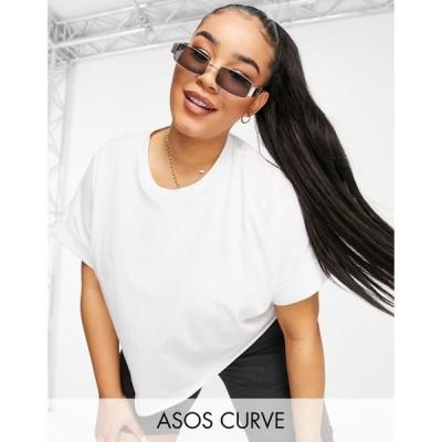 エイソス ASOS Curve レディース ベアトップ・チューブトップ・クロップド Tシャツ トップス Curve Cropped T-Shirt With Roll Sleeve In White ホワイト