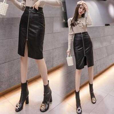 韓国ファッションPUレザー ミニスカートハイウエストタイトスカート薄いスリムラインのハーフレングスのスカートのPUレザースカート
