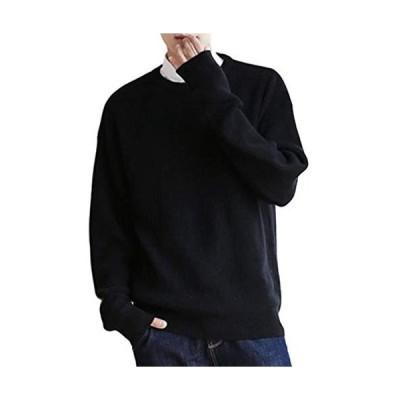 [ラッキーチャーム] ドロップショルダー ニット セーター メンズ (L ブラック)