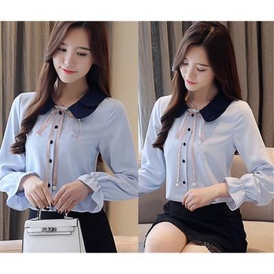 長袖シャツ バイカラー 切り替え フレアスリーブ 大きいサイズあり無地 リボン付き 韓国風