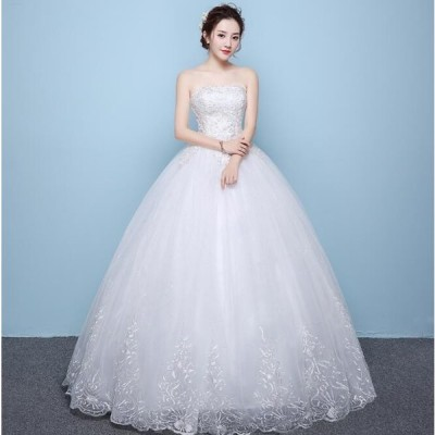 ロングドレス 結婚式 大きいサイズ パーティードレス 20代 30代 40代 パーティドレス ワンピース 二次会ドレス ウェディングドレス お呼ばれ ドレス[ホワイト]