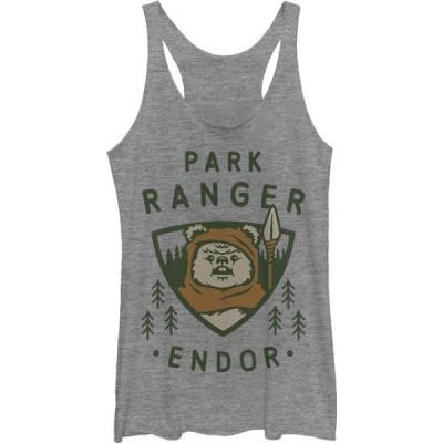 フィフス サン Fifth Sun レディース タンクトップ トップス Star Wars Park Ranger Endor Ewok Badge Racerback Tank Top gray heather
