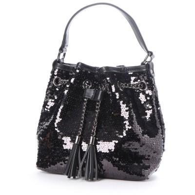ヴィータフェリーチェ VitaFelice スパンコールバッグ 巾着 ショルダー バッグ ミニトートバッグ レディースバッグ 二次会 パーティーバッグ (BLACK)