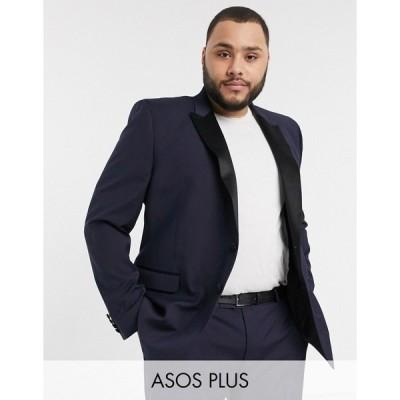 エイソス メンズ ジャケット&ブルゾン アウター ASOS DESIGN Plus skinny tuxedo suit jacket in navy Navy