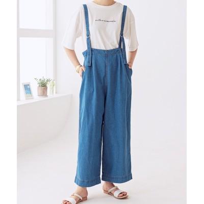 【グローウィングリッチ】 [パンツ]サスペンダー付きデニムゆるパンツ[200915] レディース ブルー M GROWINGRICH
