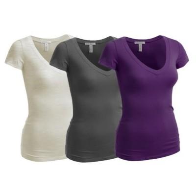 キッズ 衣類 トップス Essential Basic Women's Plain Short Sleeve T-Shirt V-Neck Top Junior & Plus Sizes グラフィックティー
