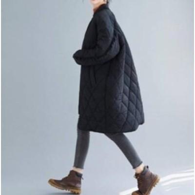 アウター レディース コート ミドル丈 膝丈 秋冬 大きいサイズ キルティング フリル ジッパー オーバーサイズ アウター レディース
