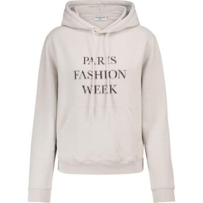 バレンシアガ Balenciaga レディース パーカー トップス Cotton hoodie Cement Grey/Black