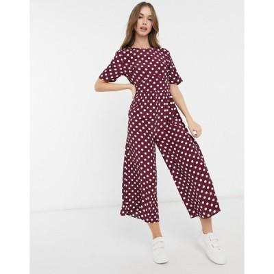 エイソス レディース ワンピース トップス ASOS DESIGN tea jumpsuit with button-back detail in burgundy and white dots