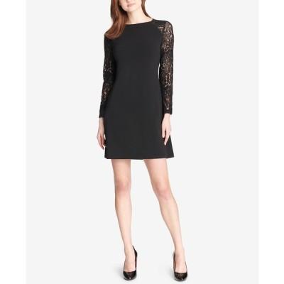 トミー ヒルフィガー ワンピース トップス レディース Lace-Sleeve Sheath Dress Black