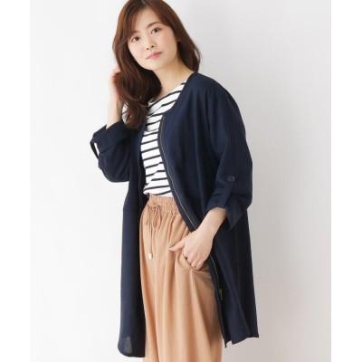 SHOO・LA・RUE/Mrs.(シューラルー/ミセス) 【M-LL】リネンレーヨンテールカットジャケット