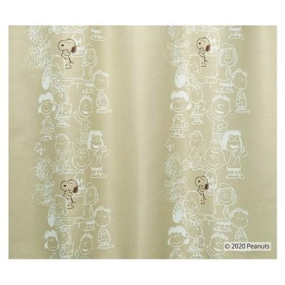 ピーナッツ カーテン ドレープ ミーティング 約100×135cmの2枚組(1窓分)ベージュ/ダークブルー スミノエ PEANUTS