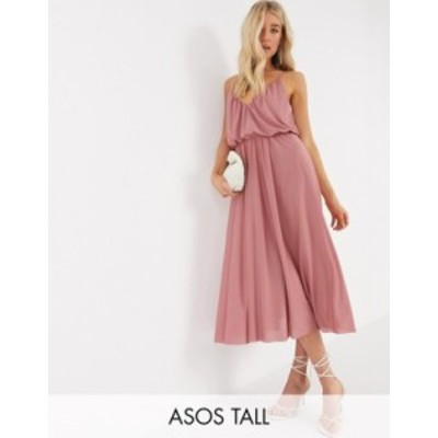 エイソス レディース ワンピース トップス ASOS DESIGN Tall cami plunge midi dress with blouson top in soft pink Soft pink