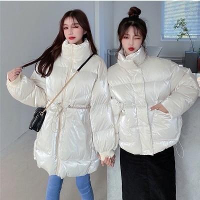 全2色 ダウンジャケット レースアップ 引き紐 冷房対策 体型カバー 着痩せ 無地 BIGポケット 韓国風