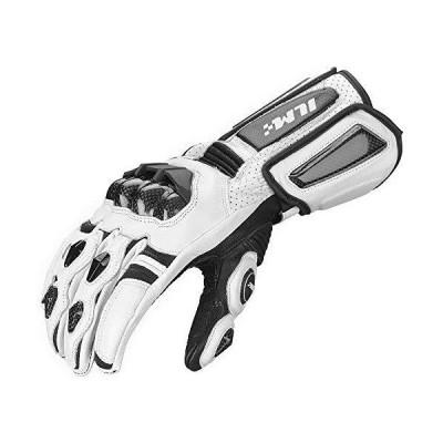 ILM バイク グローブ 革 カーボン ナックル ガード プロテクター レディース 冬用 防寒 防風 (XXL ホワイト)