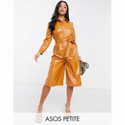 エイソス ASOS Petite レディース オールインワン プレイスーツ ワンピース・ドレス Asos Design Petite Pu Playsuit In Caramel キャラ