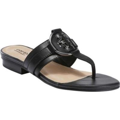 カルソーアースシューズ Earth レディース サンダル・ミュール トングサンダル シューズ・靴 Mykonos Tinos Thong Sandal Black Calfskin