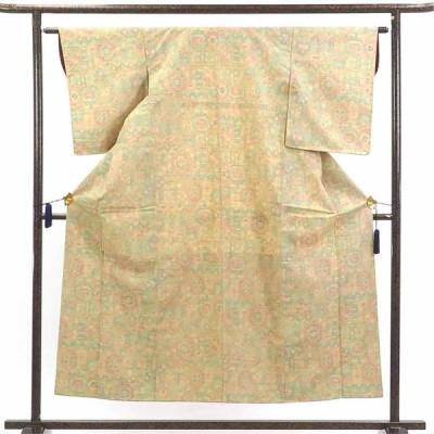 リサイクル着物 紬 正絹薄黄色地袷紬着物未使用品