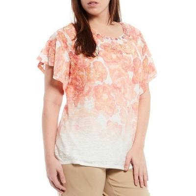 ルビーロード レディース Tシャツ トップス Plus Size Floral Print Burnout Knit Embellished Ballet Neck Flounce Sleeve Top Petal Pink Multi