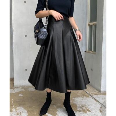 スカート NANING9(ナンニング)レザーAラインスカート