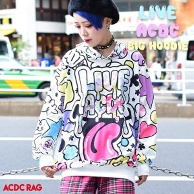 LIVE ACDC BIGパーカー 原宿 原宿系 ファッション パーカー 長袖 薄手 ゆめかわいい ファンシー 個性的 派手カワ ダンス衣装 ヒップホッ