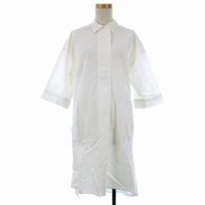 【中古】未使用品 エミ emmi atelier シャツ ワンピース ひざ丈 五分袖 オフホワイト 210217O ※VGP レディース