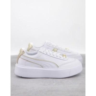 プーマ レディース スニーカー シューズ Puma Oslo Maja sneakers in white and gold piping White/gold